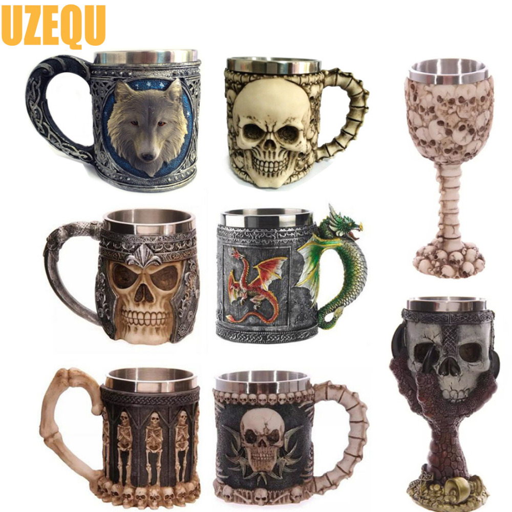 UzeQu 3D Skull Mugs Double Wall Stainless Steel Coffee Cups Skull Knight Tankard Dragon Pirate Drinking