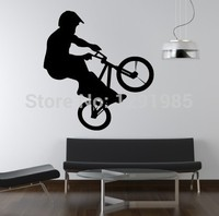Free Shipping DIY PVC Removable wall sticker Bicycle Boy Butterfly flower Art Vinyl Wall Stickers Decor Mural Decal Poster