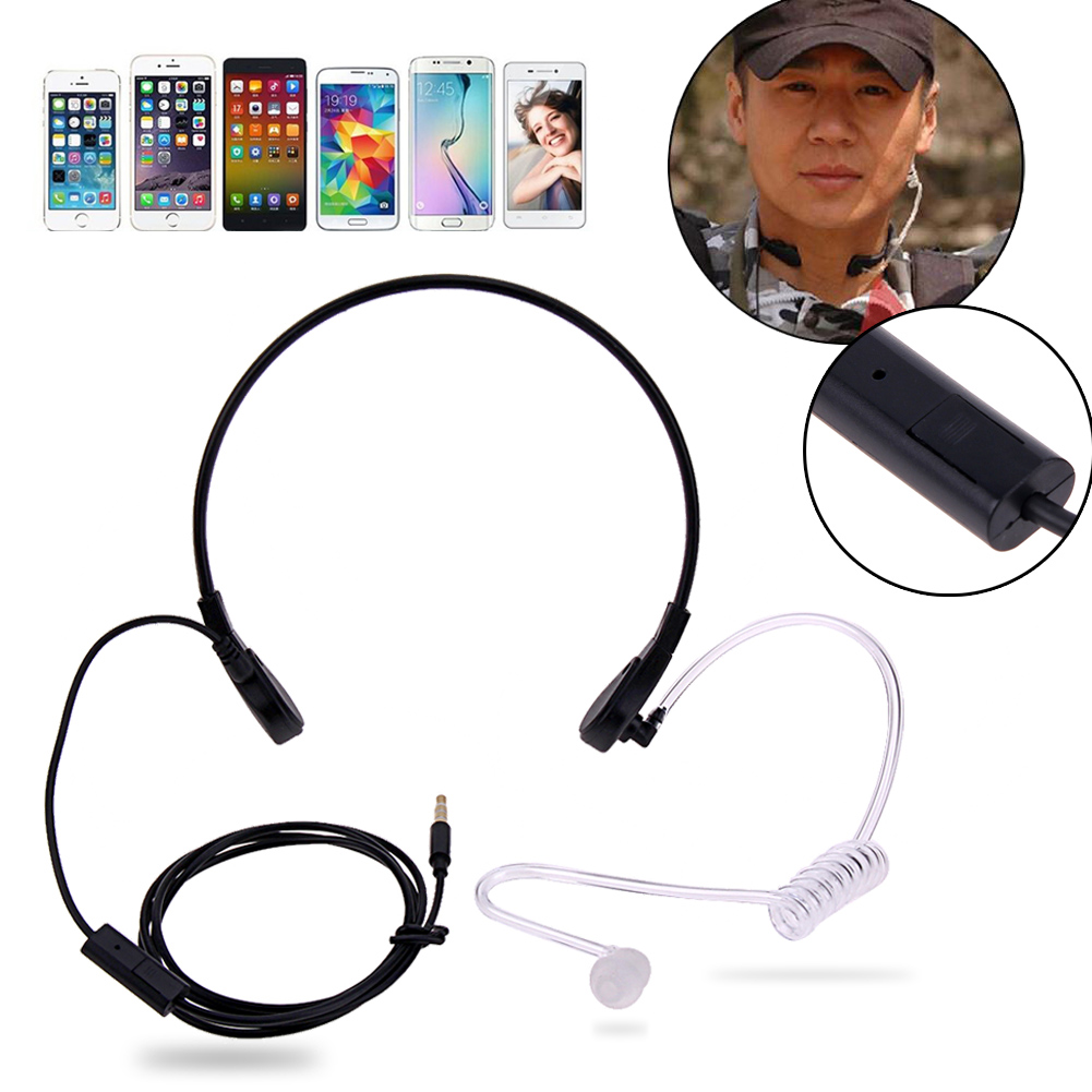 3.5mm Throat Mic Headphones Covert Acoustic Tube Throat Earpiece Headset for iPhone HTC LG Android Universal Mobile Phone