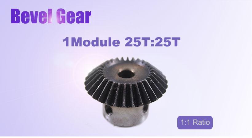 1M-25T Module Metal Spiral Bevel Wheel Motor Gear 90° Gearing 25 Tooth 10mm Bore