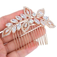 BELLA 2016 Rose Gold Plated Multiple Leaf And Oval Tear Drop Hair Comb Cubic Zirconia Bridal