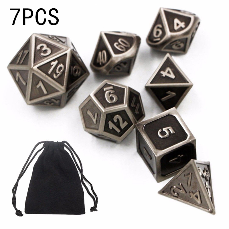 5pcs Aluminum Alloy Dice Set Metal Case Gift for Party Home Play Math Board Game ...