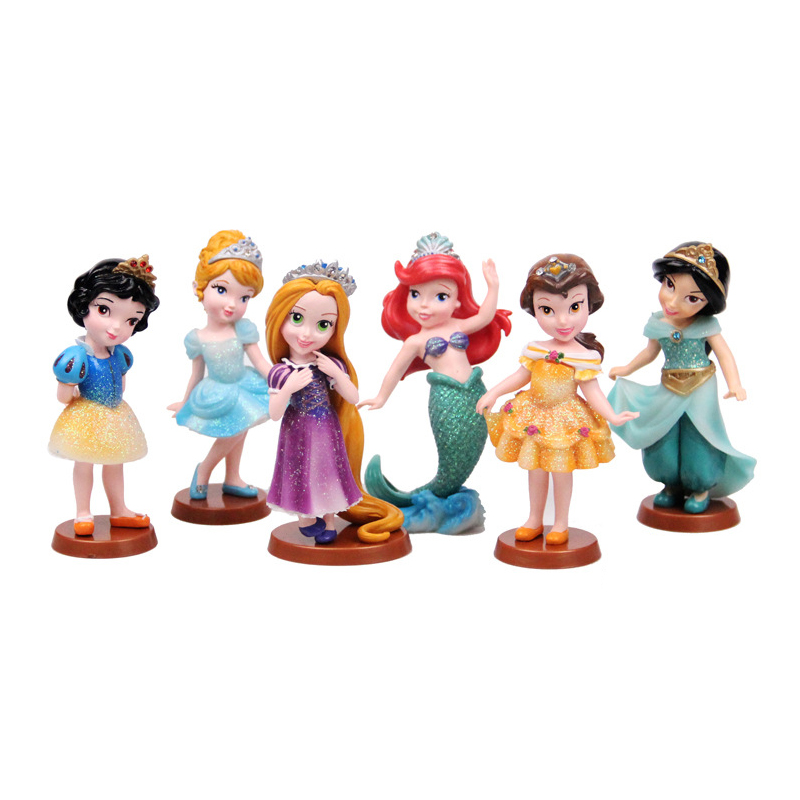 6 Pcs/set Snow White Princess action figure toys 9cm Mermaid Cinderella PVC  Figurines Collectible Dolls for Kids toy gift 6 pcs set princess snow white cinderella action figures toys cute q version 9cm pvc statue anime collectible dolls kids gift