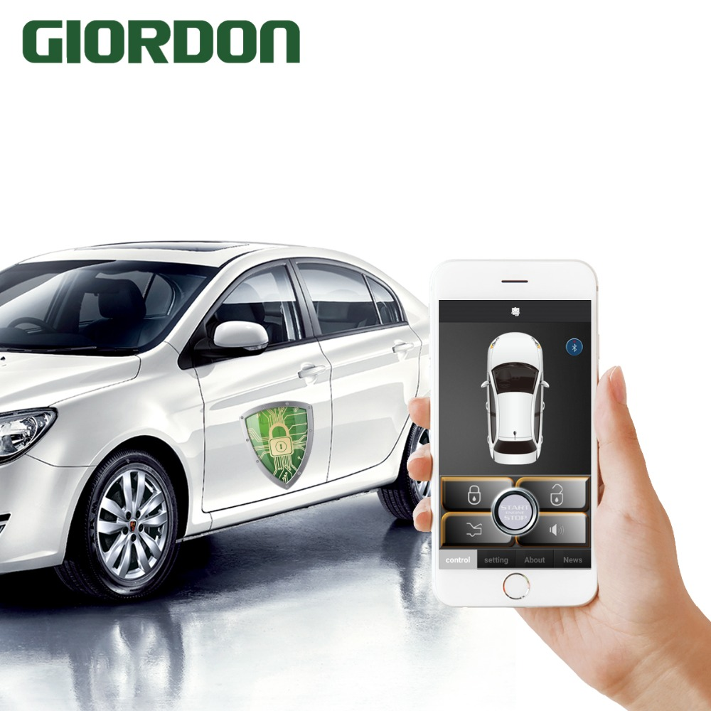 Universal Smart key Smartphone car alarm system with PKE phone car start stop Mobile phones control cars automatically