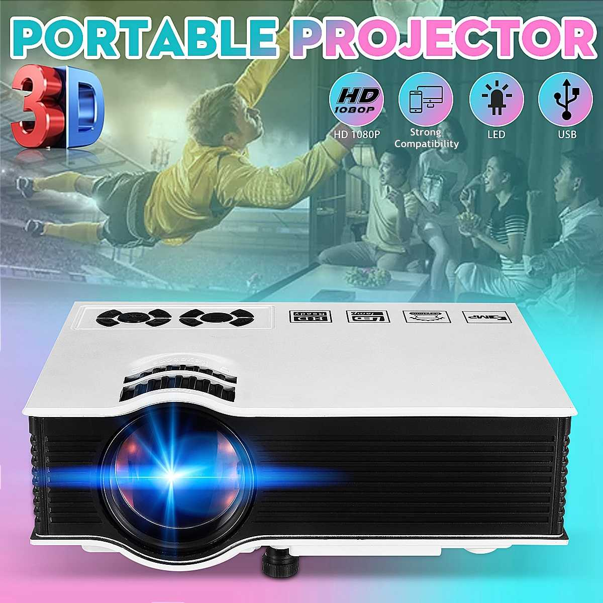 LEORY 7000 Lumen Smart Tragbare Mini LED 3D <font><b>TV</b></font> Projektor Video Heimkino Beamer <font><b>Proyector</b></font> Multimedia Ausgang image