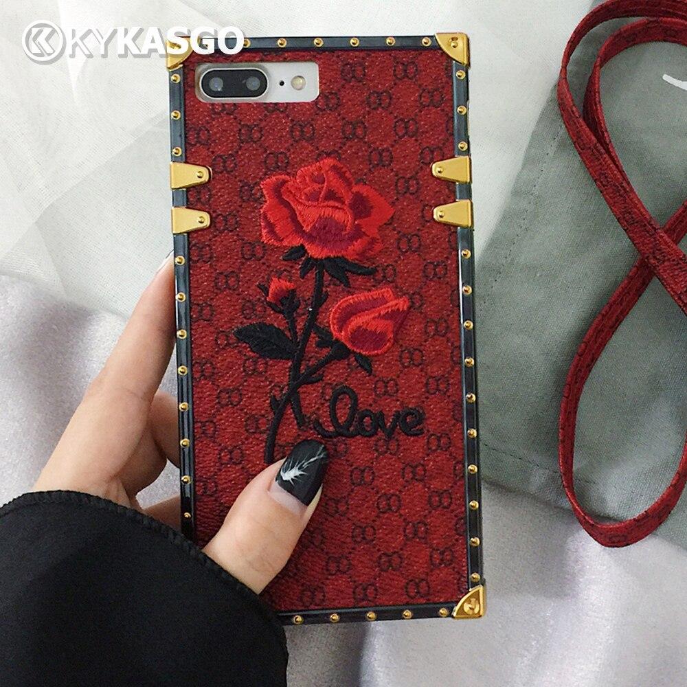 500 stücke 3D Stickerei Rose Vintage Lanyard Leder + TPU Fall Für iPhone X 8 7 Plus 6 6 S Telefon Fall Handgemachte Stoßfest Rückseite