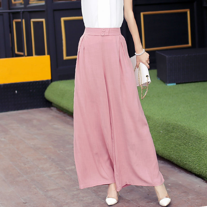 Cotton Linen   Wide     Leg     Pants   For Women High Waist 2018 Solid Fashion Bottoms Elegant Summer Cullotes   Pant   Female Skirt Trousers