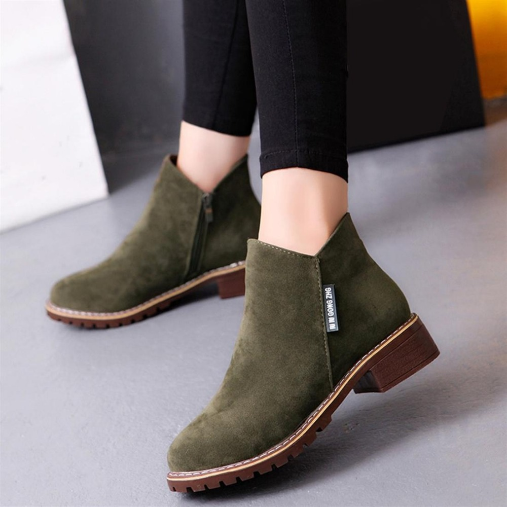 2019 Lady Women Suede Leather Upper Ankle Boots Short Martin Boot Chunky Heels Female Army Green Side Zipper Medium Heel Shoes