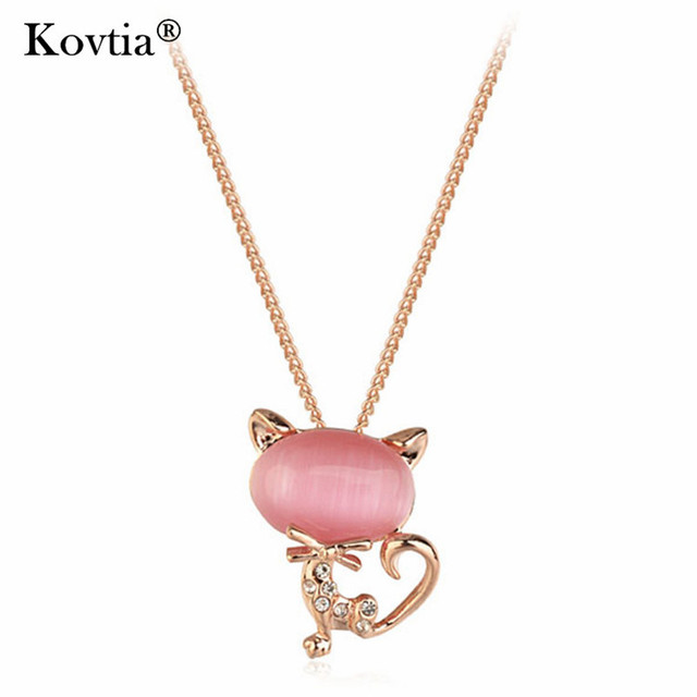 Kovtia Brand Jewelry Lovely Cat Pendant Necklace Rose Gold Color Jewelry Pink Opal Accessories Chains Necklace For Women Girls