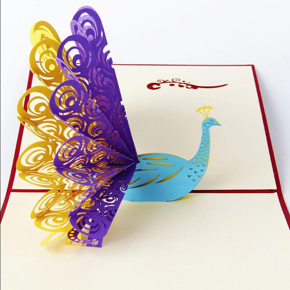 Paper Envelopes Peerless Handmade 3d Animals Peacock Carving Greeting Card