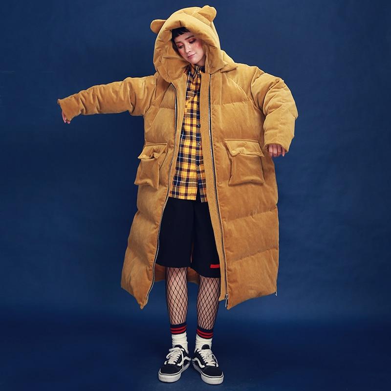 Original Design 2017 cute hooded oversized long thick corduroy winter white duck down jacket coat women