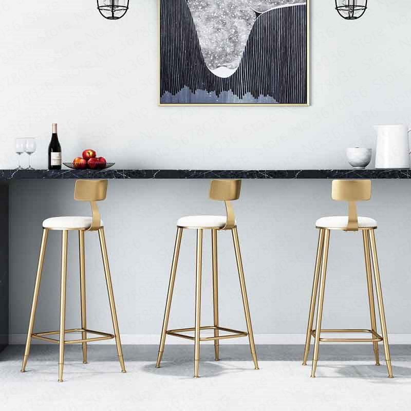 Nordic Simple Gold Bar Chair Dessert Shop Coffee Restaurant Lounge Chair Backrest High Stool Bar Bar Stool