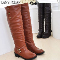 Winter Boots Real 2016 Big Size 34 43 Women Knee High Boots Sexy Chunky Round Toe