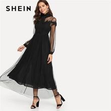 570d2b816a SHEIN Black Elegant Party Tie Neck Dot Contrast Mesh Overlay High Waist  Button Trim Solid Maxi Dress Autumn Women Casual Dresses