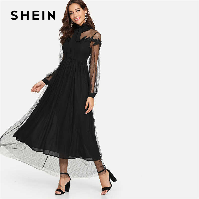 eb70b9a4b8 SHEIN Black Elegant Party Tie Neck Dot Contrast Mesh Overlay High Waist  Button Trim Solid Maxi