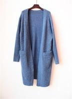 Мохер полушерстяного трикотажа женские новые модные добавить толстый свитер длинное пальто размер ЕС XXS M 3 цвета