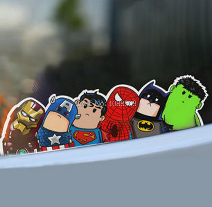 28x8cm car styling cartoon the avengers alliance superman batman car sticker decals reflective for auto engine hood window n360 in car stickers from
