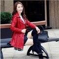 Большой размер женщин с весна и осень кожаная куртка с отложным воротником черный / красный свободного покроя пальто Casacos De Inverno Feminino J677