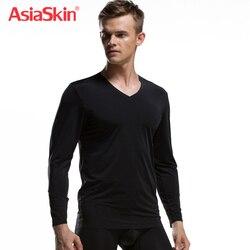 2019 ملابس داخلية أنيقة الرجال طويل جونز أعلى الحرارية الخامس الرقبة القطن دنة العلامة التجارية الملابس الجليد الحرير أعلى أنيقة Asiaskin