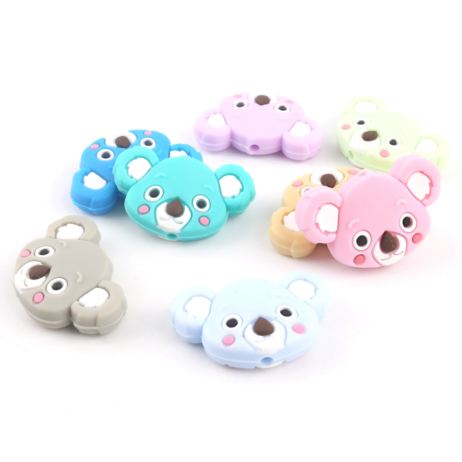 6pc Animal Silicone Beads Koala BPA Free Teething Necklace Koala Teether  Nursing Bracelets Made DIY Pacifier Clips Baby Teether