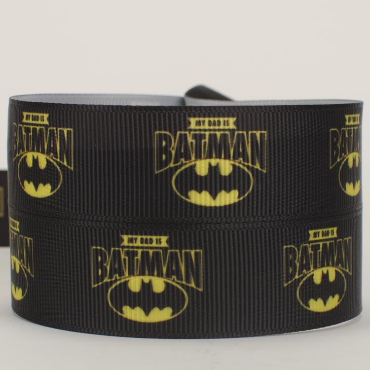 "BATMAN CHEVRON SUPER HERO 1.5/"" Grosgrain Ribbon Various Yards SHIP FROM USA"