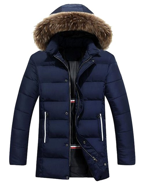 Mlg Mens Casual Thicken Warm Quilted Jacket With Faux Fur Hood In