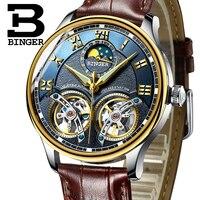 Switzerland Watches Men Luxury Brand BINGER Sapphire Water Resistant Toubillon Full Steel Mechanical Wristwatches B 8606M