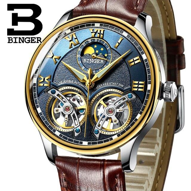 Новинка 2017 года механические Для мужчин Часы Бингер роль Элитный Бренд Скелет наручные сапфир Водонепроницаемый часы Для мужчин часы мужской Reloj Hombre