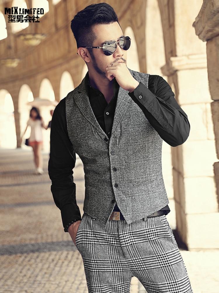 Men Brand Design England Woolen Fashion Grey Plaid Vest Metrosexual Men Casual Business Suit Vest Slim Autumn Waistcoat New M125 Firm In Structure