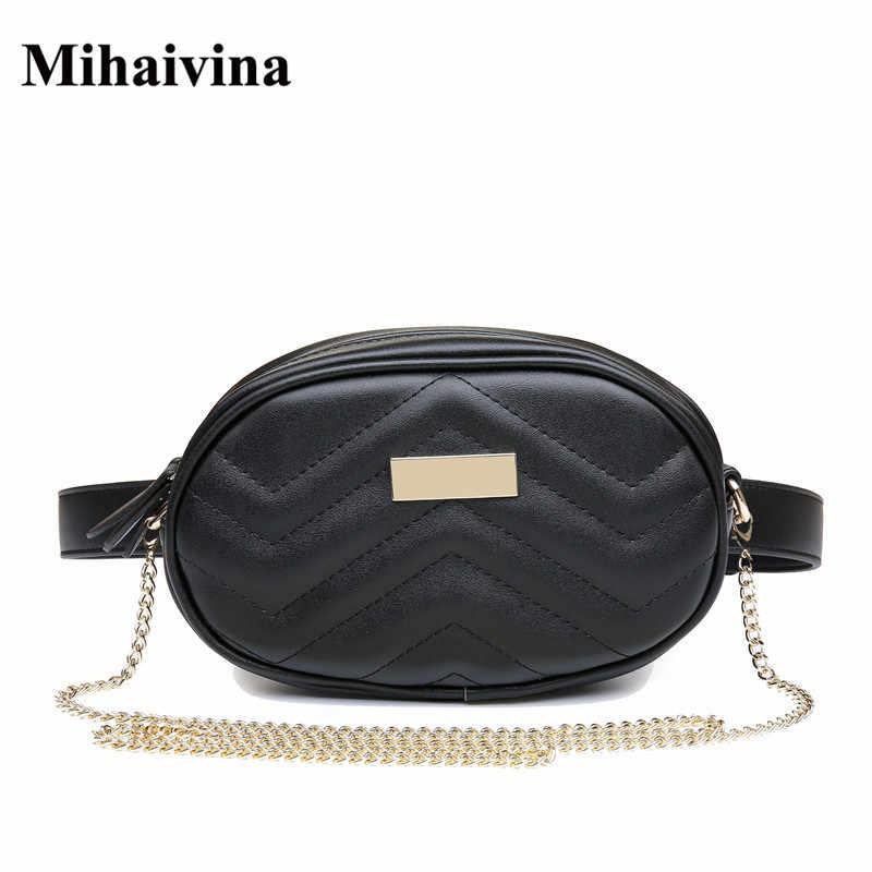Mihaivina 女性ファッション女性スエードチェーンショルダーバッグ革ヒップベルト尻女性旅行ポーチバッグファニーウエストパック