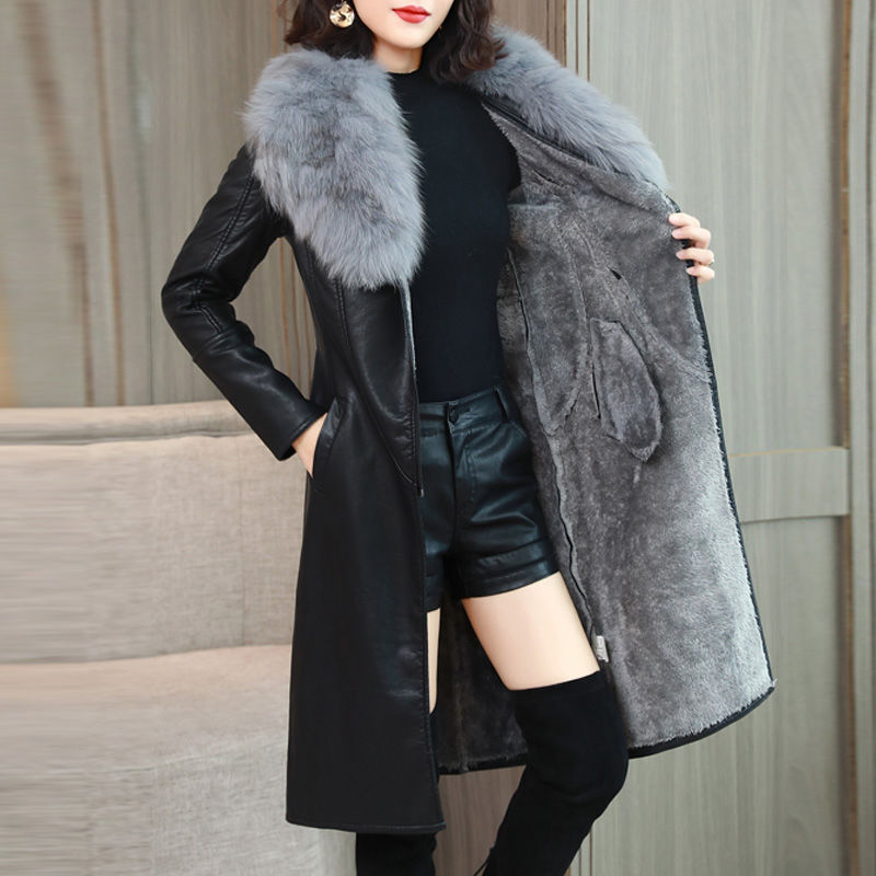 leather   jacket women plus velvet thick long section new slim large fur collar   leather   coats black clothing lady coats