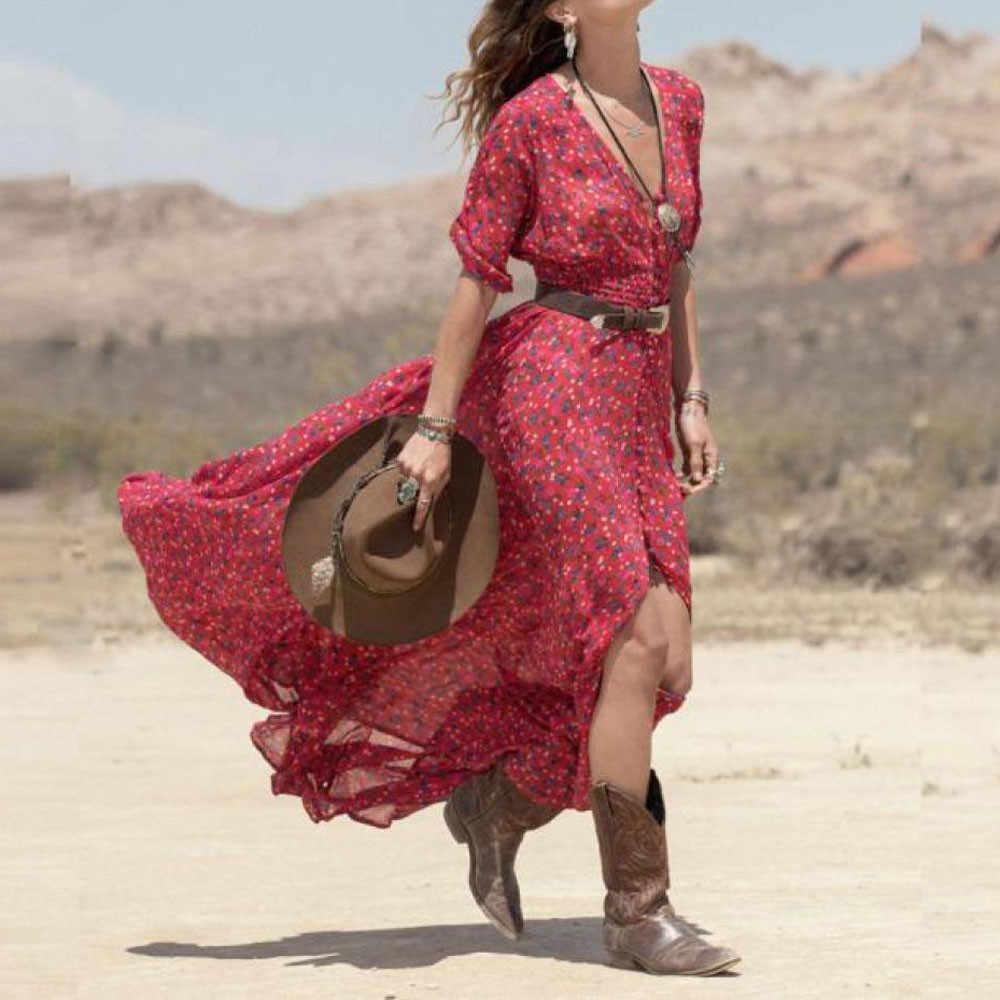 1af595cb5 Hippie rojo vestido Maxi Floral estampado con cuello en V Sexy Boho gasa mujer  Vestidos vestido
