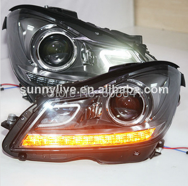 For Mercedes-Benz W204 WITH 6000K HID kit in low beam 2013-2014