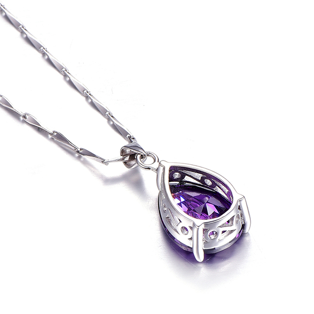 JQueen 925 Sterling Silver Jewelry Wholesale Pearl Cut Waterdrop Amethyst Pendant Necklace with 925 Silver Chain joyas de plata