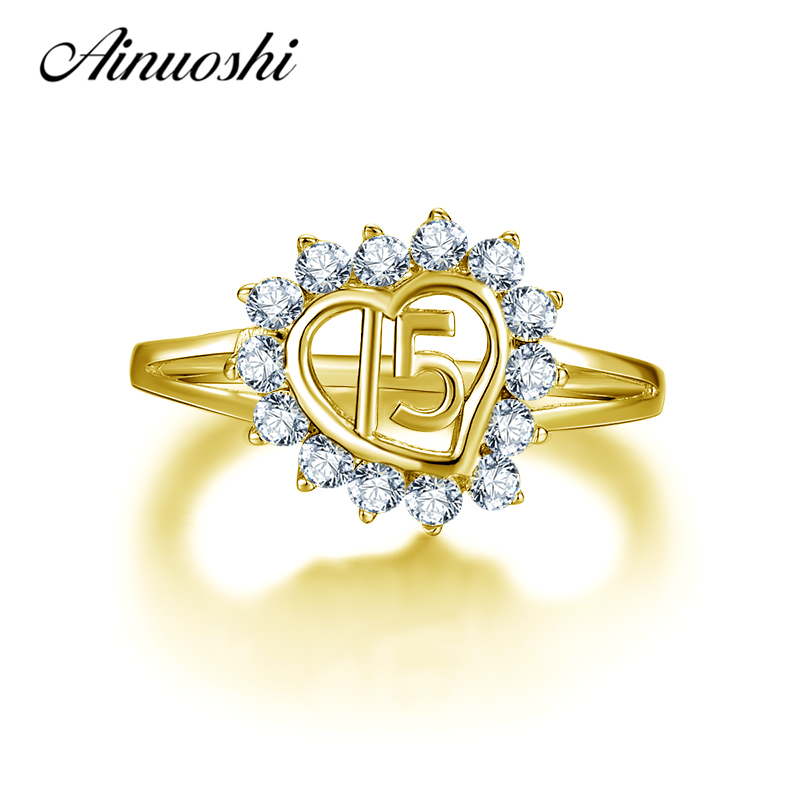 AINUOSHI 10K Solid Yellow Gold Heart Halo Ring 15th Anniversary Women Ring Jewelry Engagement Wedding Birthday Party Fine RingAINUOSHI 10K Solid Yellow Gold Heart Halo Ring 15th Anniversary Women Ring Jewelry Engagement Wedding Birthday Party Fine Ring