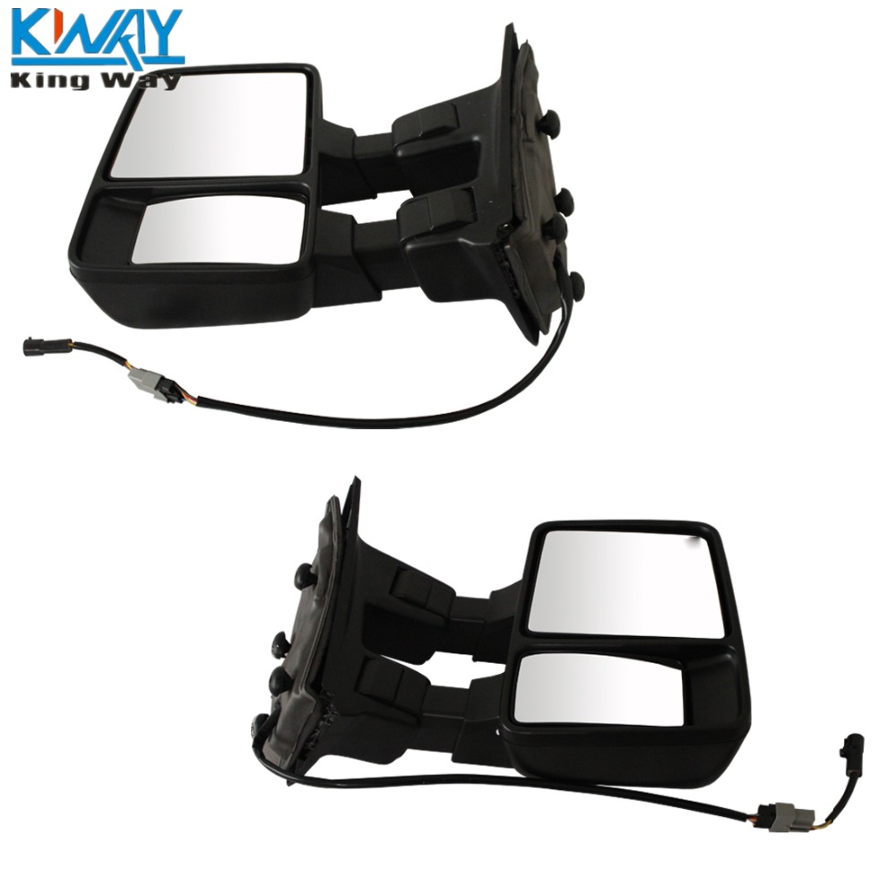 Towing Side Mirrors Manual Pair 08-16 Ford F250//F350//F450//F550 Black Mirrors Set