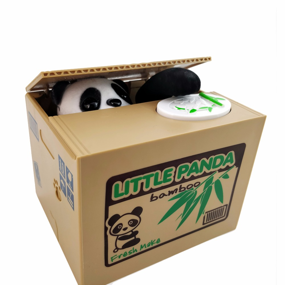 Panda Cat Thief toy piggy banks gift kids Automatic Stole Coin Bank boxes Money Saving drop shipping WJ576 funny automatic stole coin bombay cat money box gifts for kids