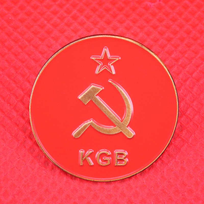 Rusia KGB Lencana Merah Bintang Pin Soviet Pro Kitty Medali Bros untuk Pria Uni Soviet Komunisme Pin Patriot Perhiasan Hadiah WW2 Antik koleksi