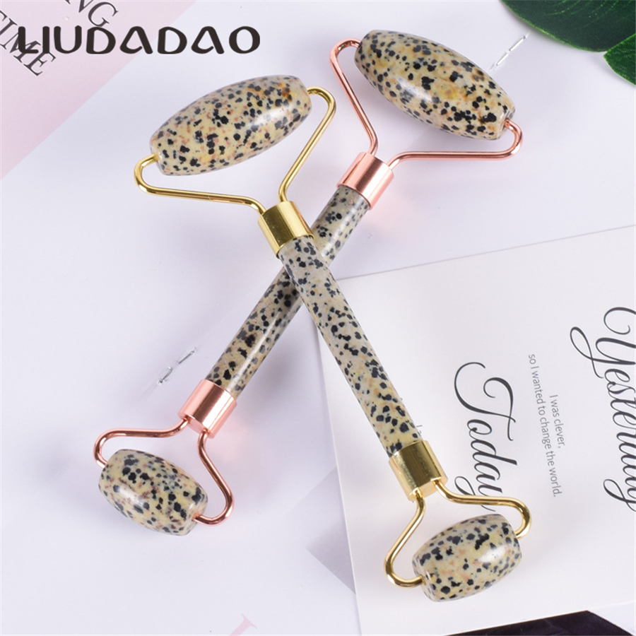 Double Head Dalmation Jasper Face Massager Rollers Natural Crystal Stone Facial Massage Smmoth Skin Care Tools Women Beauty