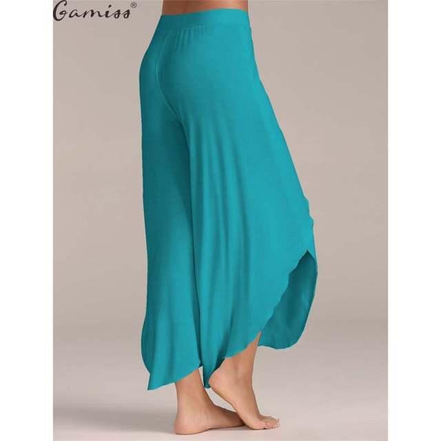 4cfd5119de2 Gamiss Cotton 2017High Waist Women Wide Leg Pants Flowy Layered Slit  Palazzo Pants 2017 Summer Ladies