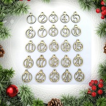 25pcs Christmas Calendar 1-25 Wooden Advent Gift Tags Number Home Party Decorations