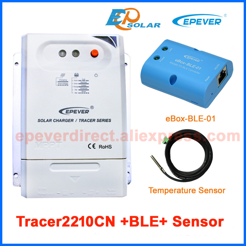 Tracer2210CN EPEVER tracer series solar regulator battery charging 20A 20amp with eBOX-BLE-01 and sensor cable epever bluetooth ble box tracer2210cn 20a 20amp charging solar controller usb cable high efficiency