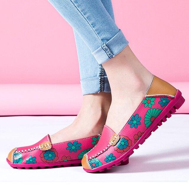 2018 Otoño de las mujeres planos de las mujeres zapatos de cuero genuino slip en ballet pisos de las mujeres planos de las mujeres de impresión zapatos de mujer mocasines zapatos mocasines