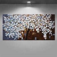Unframed 100% hecho a mano blanco Cerezo árbol y flor moderna obra gruesa Paletas cuchillo pintura al óleo sobre lienzo