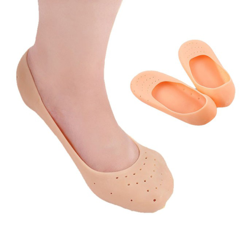1 Pair Silica Gel Foot Cover Men Women Silicone Boat Socks Foot Cover Crack Prevention Anti-heel Pain Protector