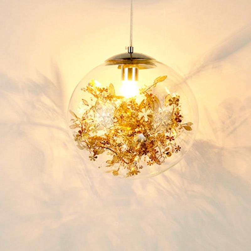 LukLoy Modern Pendant Light Glass Ball Lamp With Metal Leaf Flower Glass Kitchen Bedside Hanging Lamp Kitchen Suspension Light