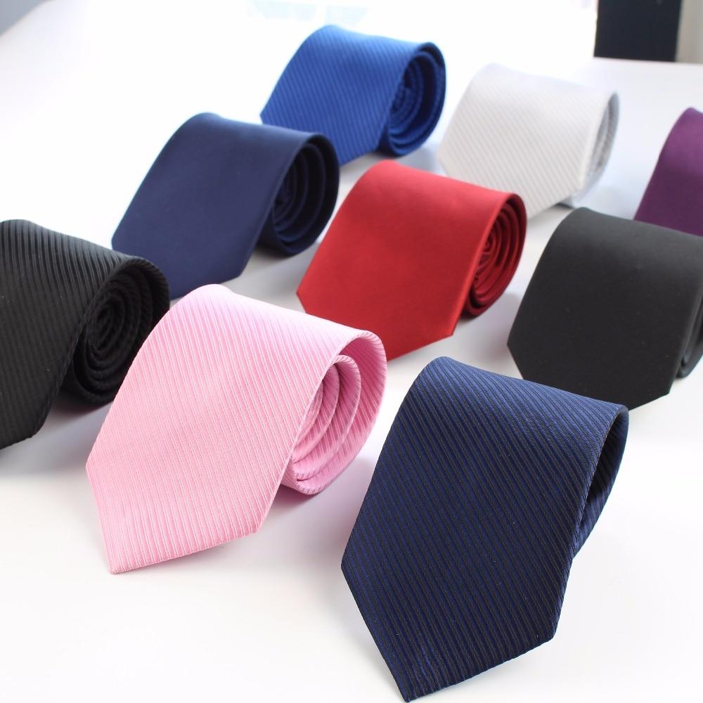 Mens Business Tie Formal Striped Solid Color Jacquard Wedding Necktie 8CM Classic Corbata Neckwear Gravata