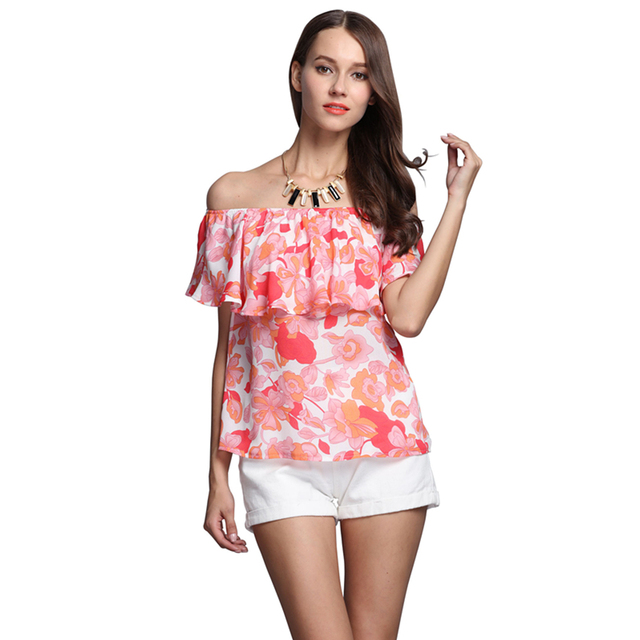 New Hot Sale Women Chiffon Top Sexy Print Pattern Off Shoulder Top Tees European Style Casual Shirt High Quality MD16101926