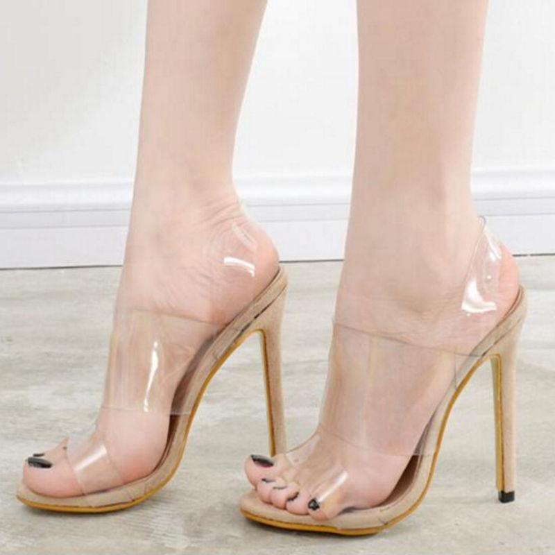 A7 Sandale Effacer Transparent Ouvert Chaussures Toe Gelée Talons 12 Haute Cm Femmes Talon De aqHwFqYO7