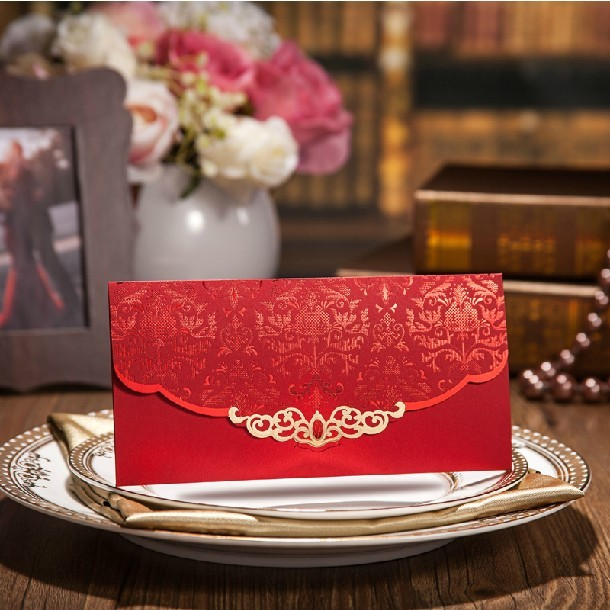 Chinese Style Wedding Envelopes 2015 Red Embossed Flower Printing Invitation Envelope Paper For Gift